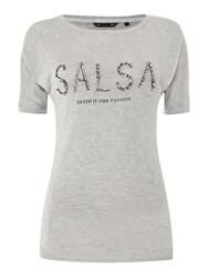 Salsa Shortsleeve Bead Detail Logo Top Light Grey