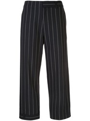 Monse Pinstriped Cropped Trousers Blue