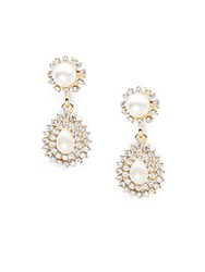 Saks Fifth Avenue Estate Crystal And 14K Gold Plated Drop Earrings