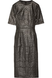 Rebecca Vallance Metallic Coated Cotton Blend Lace Midi Dress Gunmetal