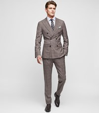 Reiss Belvedere Slim Fit Double Breasted Suit In Brown