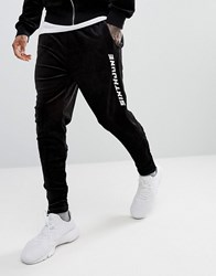 Sixth June Skinny Joggers In Black Velour With Logo Black
