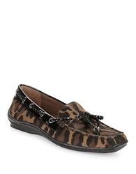 Donald J Pliner Leopard Print Calf Hair Loafers