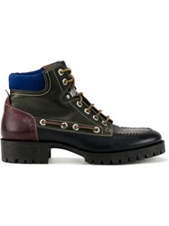 Dsquared2 Leather Hiking Boots Calf Leather Elastodiene Black