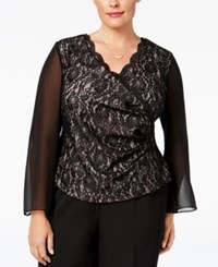 Alex Evenings Plus Size Lace Illusion Blouse Black Pink