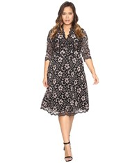 Kiyonna Mademoiselle Lace Dress Rose Gold Onyx Women's Dress Black