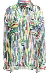 Missoni Woman Printed Silk Georgette Shirt Green