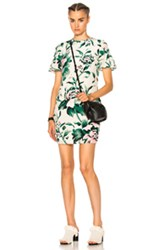 Burberry Flare Sleeve Shift Dress In Floral Green Floral Green