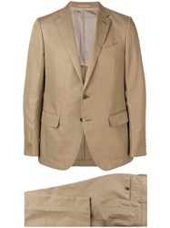 Caruso Slim Single Breasted Suit Brown