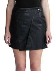 Day Birger Et Mikkelsen Solid Leather Wrap Skirt Blue Night