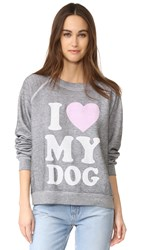 Wildfox Couture Must Love Dogs Sweatshirt Heather Burnout