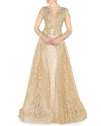 Mac Duggal High Neck 3 4 Sleeve Lace Overlay Illusion Gown W Bead Embellishment Gold