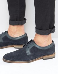 Asos Derby Shoes In Navy Suede With Natural Sole Navy