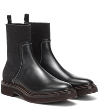 Brunello Cucinelli Leather And Cashmere Ankle Boots Black
