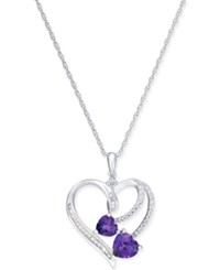 Macy's Amethyst 1 1 10 Ct. T.W. And White Topaz 1 2 Ct. T.W. Double Heart Pendant Necklace In Sterling Silver