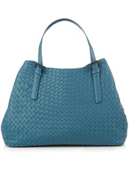 Bottega Veneta Intrecciato Large Leather Tote Blue