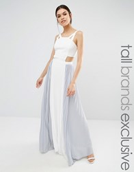 True Decadence Tall Cut Out Maxi Dress With Contrast Pleated Skirt Cream Grey