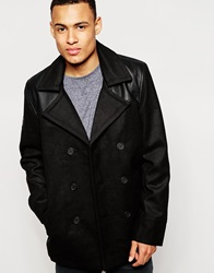 D Struct Parlour Wool Blend Pea Coat Black