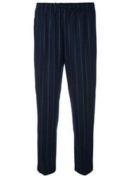 Twin Set Cropped Pinstripe Trousers Blue