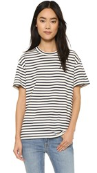 6397 Stripe Russell Tee Navy Stripe On White