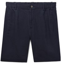Incotex Slim Fit Linen Shorts Blue