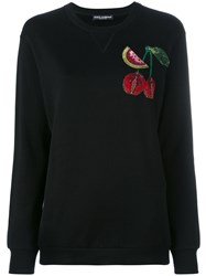 Dolce And Gabbana Cherry Embroidered Top Black