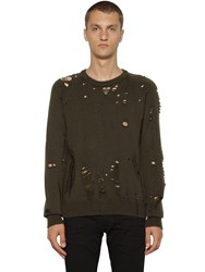 Dsquared Distressed Wool Knit Sweater Army Green