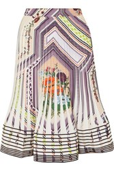 Tory Burch Pleated Printed Crepe Skirt Ivory