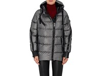 Moncler Women's Liriope Channel Quilted Tech Twill Coat Silver