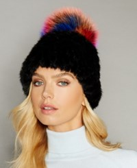 The Fur Vault Fox Trim Knitted Mink Hat Black Multi