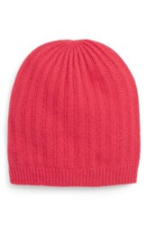 Halogen Ribbed Cashmere Beanie Pink Pink Rose