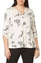 Evans Plus Size Women's Print Jersey Roll Sleeve Shirt Ivory