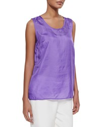 Caroline Rose Tissue Silk Tank Purple Petite Women's