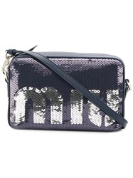 Miu Miu Sequin Logo Camera Bag Blue