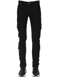 Balmain 15Cm Slim Cotton Gabardine Cargo Pants Black