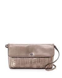 Elliott Lucca Tristan Metallic Leather Woven Clutch Bag Pyrite