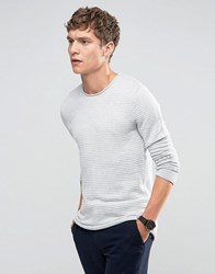 Selected Homme Crew Neck Ribbed Knit Snow White Melange Grey