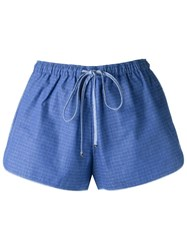 Lilly Sarti Plaid Shorts Blue