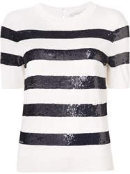 Carolina Herrera Sequin Short Sleeved Top White