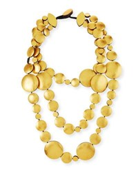 Viktoria Hayman Triple Strand Golden Foil Disc Necklace Yellow Metallic