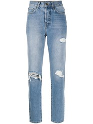 Anine Bing High Rise Distressed Straight Leg Jeans Blue