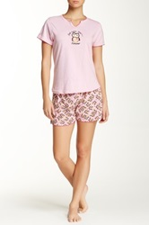 Rene Rofe Tee And Short Pajama Set Pink