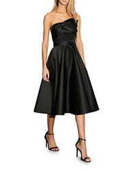 Cynthia Rowley Bow Accented Satin Strapless A Line Dress Black