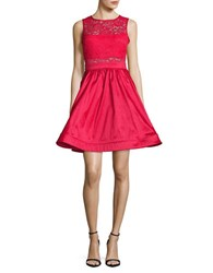 Betsy And Adam Lace Trimmed Fit Flare Dress Red