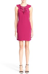 Women's Rebecca Taylor Ruffle Neck Silk Sheath Dress