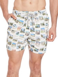 Saks Fifth Avenue Post Card Print Swim Trunks White Multi