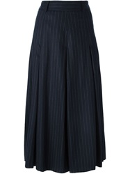 Each X Other Pinstripe Pleated Skirt Blue