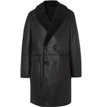Mr P. Oversized Double Breasted Shearling Coat Black