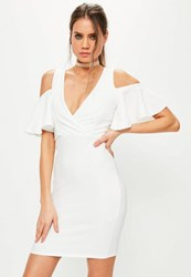 Missguided White Frill Cold Shoulder Plunge Bodycon Dress