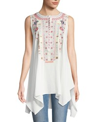 Philosophy Embroidered Scoop Neck Blouse Ivory